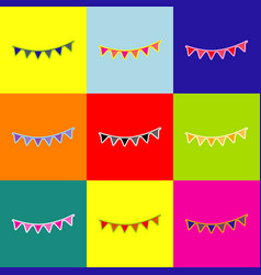 Holiday flags garlands sign pop-art style vector