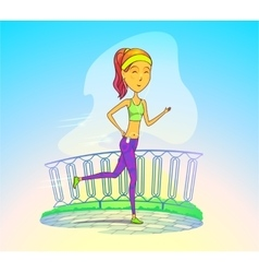 Jogging girl or running woman with music player vector