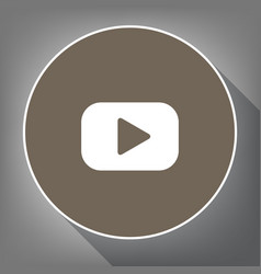 play button sign  white icon on brown vector image