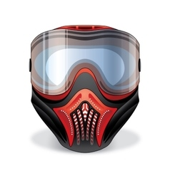 Red and black paintball mask with transparent vector