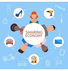 Sharing economy and smart consumption concept vector