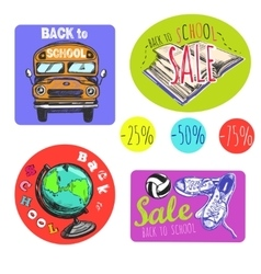 Sketch Back To School Logo Set vector image vector image