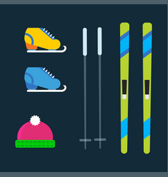 skiing winter season equipment vector image