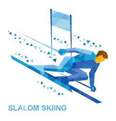 Slalom skiing cartoon skier running downhil vector