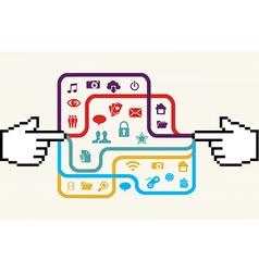 Social media connection hand concept vector