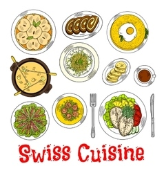 Swiss seafood dishes with fondue and desserts icon vector image