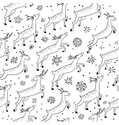 winter seamless pattern with cute jumping deers vector image