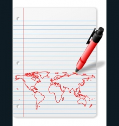 world map drawing vector image vector image