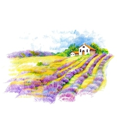 Watercolor rural house in green summer day vector