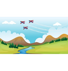 Flying airplains and a beautiful landscape vector image