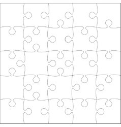 White puzzles pieces - jigsaw - 25 vector