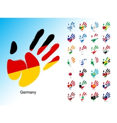 Open human handprint with national flag inside vector image
