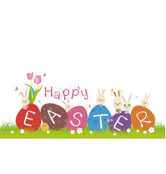 happy easter concept of cute rabbit on green grass vector image