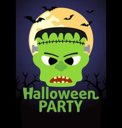 Halloween party banner with frankenstein vector
