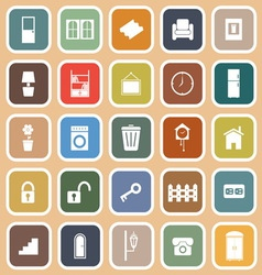 House related flat icons on orange background vector