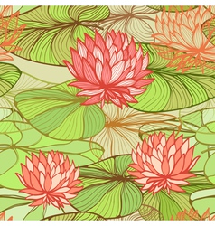 Pattern with pink water lilys vector