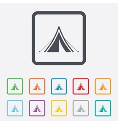 Tourist tent sign icon camping symbol vector