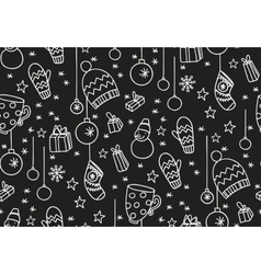 Hand drawn new year seamless pattern blackboard vector