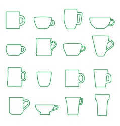Mugs and cups black outline icons set eps10 vector
