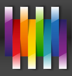 Rainbow paper stripe shiny banners with shadows on vector