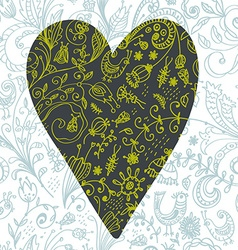 Doodle floral seamless card with heart vector image