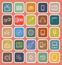 Entertainment line flat icons on orange background vector