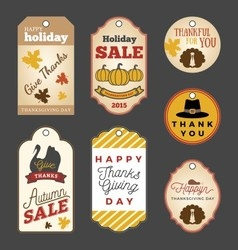 Set of thanksgiving gift tags vector