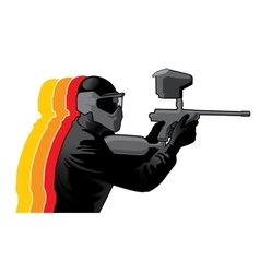 Paintball player in black uniform vector