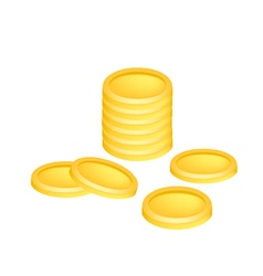 Pile of golden coins money on white background vector