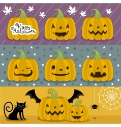 Many pumpkin prepared for halloween vector