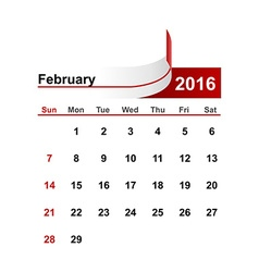 simple calendar 2016 year february month vector image