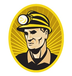 Coal miner with hardhat vector