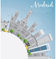 Madrid skyline with gray buildings blue sky vector