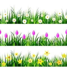 Green grass seamless set vector