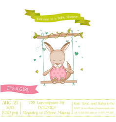 baby shower or arrival card - baby girl kangaroo vector image vector image