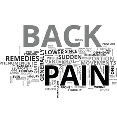 back pain remedies text word cloud concept vector image vector image