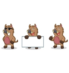 Brown Wild Pig Mascot happy vector image vector image