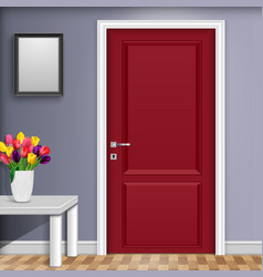 closed red door with vase and flowers over white vector image
