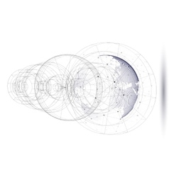 Dotted world globe with abstract construction vector