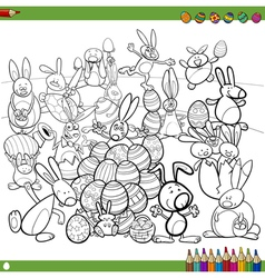 easter bunnies for coloring vector image vector image