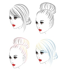 Fashion hairstyles lineart4 vector