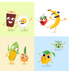 Funny food characters - set of modern vector