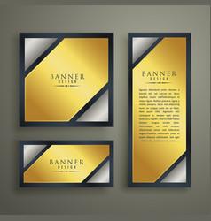 Golden premium banner set design template vector