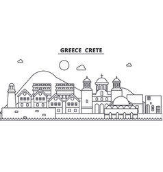 greece crete architecture line skyline vector image