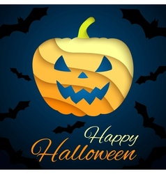 Happy Halloween card Paper pumpkin on dark vector image
