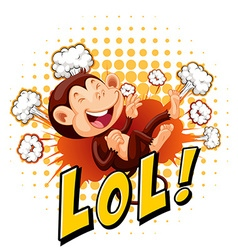 Little monkey laughing on the floor vector