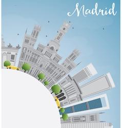Madrid skyline with gray buildings blue sky vector