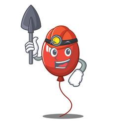Miner balloon character cartoon style vector