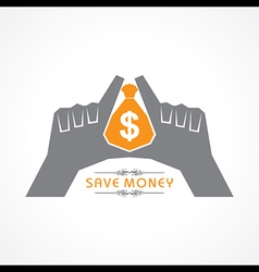 Save money concept - hands protecting bag of money vector