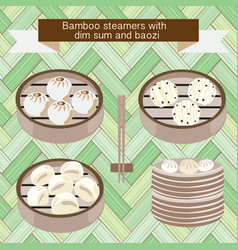 Set of bamboo steamers with dim sum and baozi vector